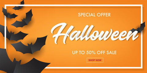 Halloween typography with black bat paper art sale banner.Vector illustration.