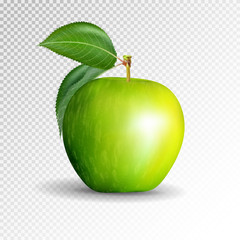 Perfect Fresh Green Apple Isolated on transparent background. Vector, 3D