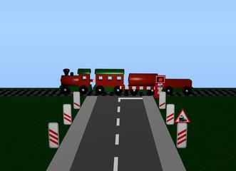 Bahnübergang mit Zug, Andreaskreuz und Verkehrsschild.