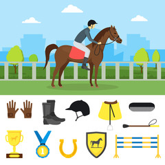 Cartoon Equipment Jockey and Element Set. Vector