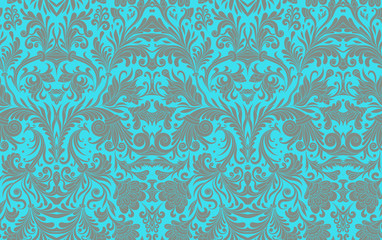 Classical luxury old fashioned damask ornament, royal victorian seamless texture for wallpapers, textile, wrapping. Exquisite baroque template. Damask seamless pattern element in blue colors.