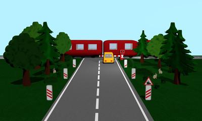 Bahnübergang mit Zug, Andreaskreuz und Verkehrsschild, Auto, Bäumen und Häschen