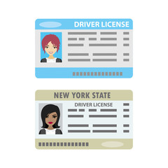 Driver license with female photo,isolated on white background.