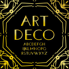 Font vector. Art deco vintage alphabet, retro gold frame or border. Luxury design abc isolated on black background. For logo, label, sign decoration illustration.