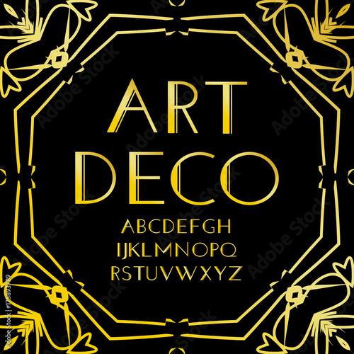 e7895e20bd98 Font vector. Art deco vintage alphabet