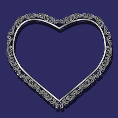 frame in the shape of heart silver color with shadow