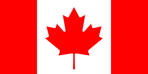 Flag of Canada in national official colors and proportions with a maple leaf, vector.