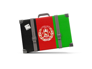 Luggage with flag of afghanistan. Suitcase isolated on white