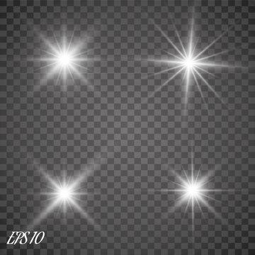 Glow light effect. Starburst with sparkles on transparent background. Vector illustration. Sun