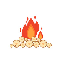Vector flat style illustration of bonfire isolated on white background. Icon logo flame and wood for web design