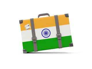 Luggage with flag of india. Suitcase isolated on white