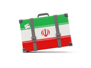 Luggage with flag of iran. Suitcase isolated on white