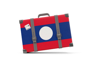 Luggage with flag of laos. Suitcase isolated on white