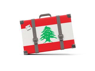 Luggage with flag of lebanon. Suitcase isolated on white