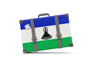 Luggage with flag of lesotho. Suitcase isolated on white