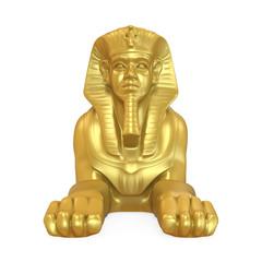 Golden Egyptian Sphinx Statue Isolated