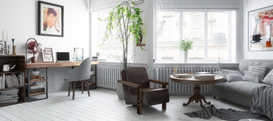 Möbliertes Wohnzimmer (panoramisch)
