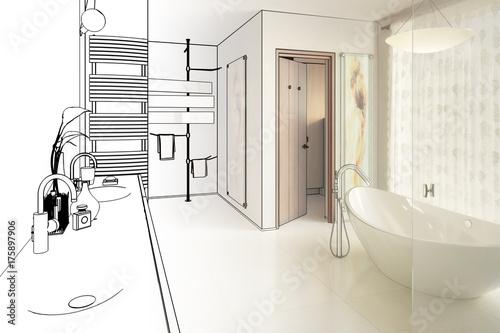 elegantes badezimmer zeichnung stockfotos und