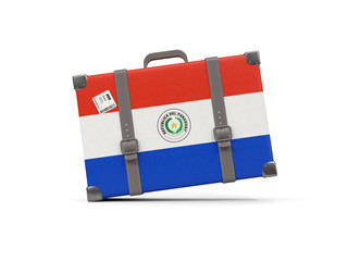Luggage with flag of paraguay. Suitcase isolated on white