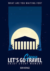 Greece. Time to Travel. Journey, trip, vacation. Moon background. Bon Voyage.