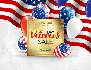 Veterans day sale banner template design. Vector