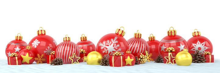 Many red and golden christmas baubles and christmas decorations over white background - panorama - merry christmas concept