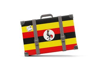 Luggage with flag of uganda. Suitcase isolated on white
