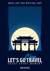 China. Time to Travel. Journey, trip, vacation. Moon background. Bon Voyage.