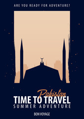 Pakistan. Time to Travel. Journey, trip, vacation. Moon background. Bon Voyage.