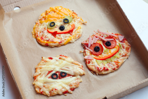 Halloween creative scary food monster zombie face with eyes pizza ...
