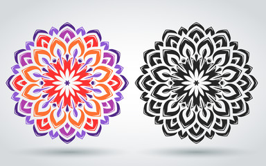 Oriental pattern of the mandala. Floral ornament. Islamic, Arabic, Indian style. Bright vintage decorative element. Template for design projects. Yoga, meditation, anti-stress. Vector illustration.