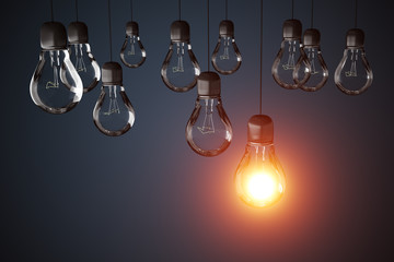 Many light bulbs and one is glowing. 3D rendered illustration.