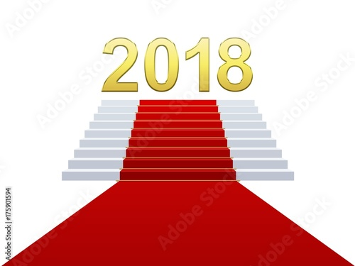 Nouvel An 2018 Sur Escalier Et Tapis Rouge Stock Photo And