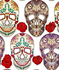 Seamless texture with illustration of sugar skulls. The holiday of the Day of the Dead. Vector pattern for your creativity