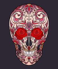 Color  illustration of a sugar skull. The holiday of the Day of the Dead. Vector element for tattoo, print for t-shirt, greetong card your creativity