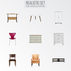 Realistic Comfortable, Wardrobe, Stool And Other Vector Elements. Set Of Furniture Realistic Symbols Also Includes Commode, Armchair, Restaurant Objects.