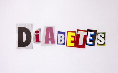 Diabetes magazine difftent letters for health concept