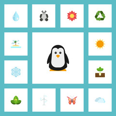 Flat Icons Bear, Eco Energy, Beauty Insect And Other Vector Elements. Set Of Eco Flat Icons Symbols Also Includes Eco, Snowflake, Palm Objects.