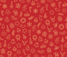 Christmas vector seamless pattern. Merry and Happy New Year.