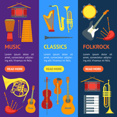 Cartoon Musical Insrtuments Banner Vecrtical Set. Vector