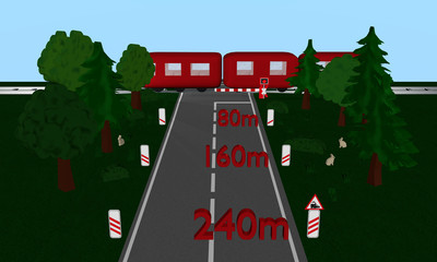 Bahnübergang mit Zug, Andreaskreuz und Verkehrsschild, Auto, Bäumen und Häschen. Text mit Abständen in Meter