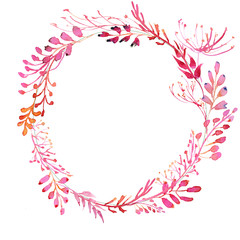 Romantic watercolor pink branch and flowers wreath frame