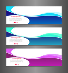 Set three colorful abstract modern banner texture. Vector banner background for web banner design