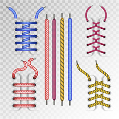 Shoe laces and boot lacing type icons on vector transparent background