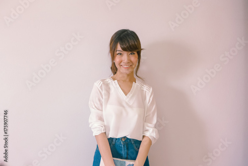 A Portrait Of Young Beautiful Asian Woman Wearing Casual Outfit