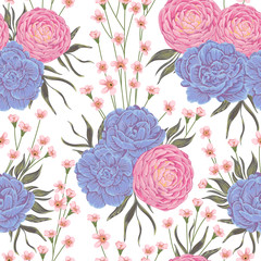 Seamless pattern with pink camellias, blue geranium flowers and alstroemeria. Rustic botanical background. Vintage hand drawn vector illustration in watercolor style