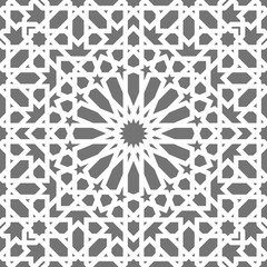 Islamic seamless vector pattern. White Geometric ornaments based on traditional arabic art. Oriental muslim mosaic. Turkish, Arabian, Moroccan design on a dark background. Mosque decoration element