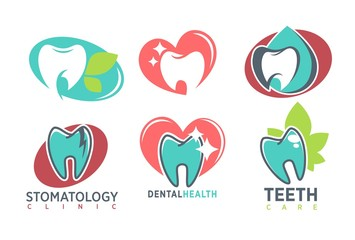 Stomatology dental clinic whote tooth vector icon template teeth health