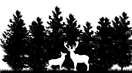 Vector silhouette of deer in forest on white background.
