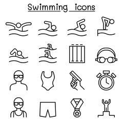 Swimming icon set in thin line style